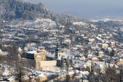 Old Castle, Banska Stiavnica in winter, Royalty Free Stock Images