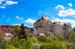 Old castle. With blue background and green vegetaion royalty free stock photo
