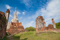 Old castle and blue sky. Old castle in Ayutthaya Thailand with blue sky. Buddhist Temple Stock Image