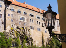 Old castle. With blue sky and old lamp stock photo