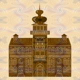 Old castle building on textured background. Monument sihlouette in baroque on rennaisance style Royalty Free Stock Photos