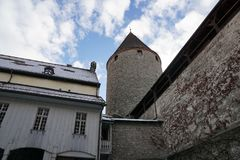 Old castle in bulle in gruyere in south switzerland. Old castle in Bulle is a municipality in the district of Gruyère in the canton of Fribourg in Switzerland stock photo