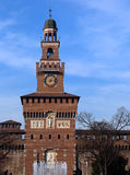 Old Castle called Castello Sforzesco with fountain Royalty Free Stock Images