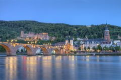 Old castle and Carl-Theodor bridge, Heidelberg, Germany, HDR Stock Image