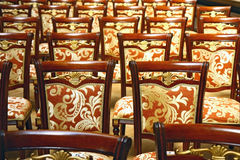 Old castle chairs. Old baroque castle chairs in lines Royalty Free Stock Photography