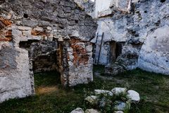 Ruins of old fortress in Chortkiv, Ukraine. Old castle in Chortkiv was build by Golski in 1610, Ternopil region, Ukraine royalty free stock photography