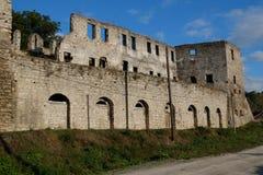 Ruins of old fortress in Chortkiv, Ukraine. Old castle in Chortkiv was build by Golski in 1610, Ternopil region, Ukraine royalty free stock photo