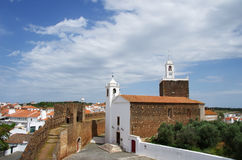 Old castle and church, Alandroal village Royalty Free Stock Photography