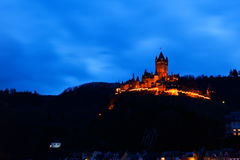 Old castle in Cochem in dusk Royalty Free Stock Photo