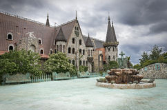 Old castle courtyard in bad weather. Royalty Free Stock Images