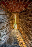 Old castle embrasure. Closeup of an embrasure in an old castle building stock image