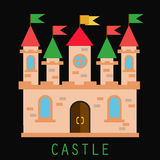Old castle with flags and towers. Flat vector illustration Stock Photography