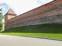 The old castle is a fortress made of stone and red brick. Belarus stock photos