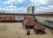 The old castle is a fortress made of stone and red brick. Belarus royalty free stock photography