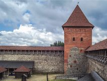 The old castle is a fortress made of stone and red brick. Belarus royalty free stock images