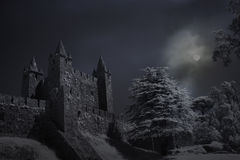 Old castle in a full moon night Stock Image