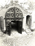 Old castle gates. Black and white vintage royalty free stock photo