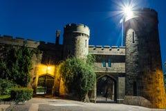 Old castle gates at night. Entrance to former earl Vorontsov`s manor, Alupka, Crimea.  royalty free stock photo