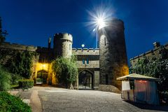 Old castle gates at night. Entrance to former earl Vorontsov`s manor, Alupka, Crimea.  royalty free stock photography