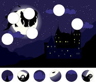 Old castle with ghosts in the moonlit night: complete the puzzle Royalty Free Stock Photo