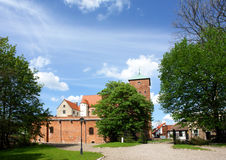Old castle, green trees royalty free stock photos