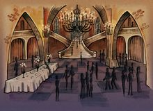 Old castle hall interior with people silhouettes vector illustration
