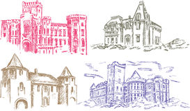 Old castle - hand drawing vector illustration