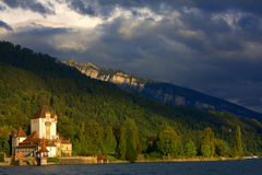 Old castle/harbor in Switzerland next to lake Royalty Free Stock Images