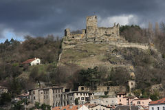 Old castle on the hill. An old castle on the hill towering the city of Vienne, France royalty free stock photography