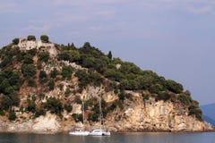 Old castle on hill landscape Parga Greece. Summer season stock photography