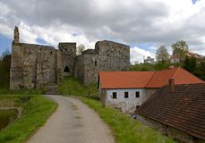 Old castle with houses Stock Image