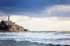Old Castle. (Old Jaffa, Israel) in the bad weather Royalty Free Stock Photo