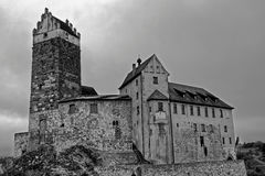 Old castle Katzenstein eerie scenery. The Katzenstein castle, one of the oldest remaining Hohenstaufen castles in Germany. Black-and-white-image Royalty Free Stock Photography