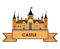 Old castle label. Retro architectural wonderland logo. Stock Photo