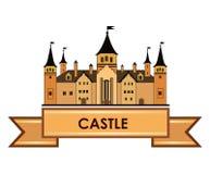 Old castle label. Retro architectural wonderland logo. Old castle label. Retro  travel logo Stock Photo