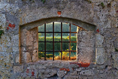 Old castle lattice window with view. View through an iron latticed window of an old ruin Stock Photo