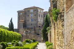 Old castle at Lauris village in Provence, France. stock photos