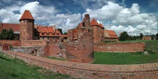 The old castle in Malbork - Poland. Stitched Panorama Royalty Free Stock Image