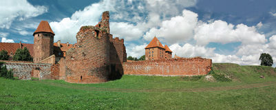 The old castle in Malbork - Poland. Stitched Panorama Royalty Free Stock Photo
