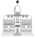 Old castle monochrome drawing, architecture sketch in black outline on white background Stock Images