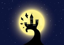 Old castle on the moon background Royalty Free Stock Photo