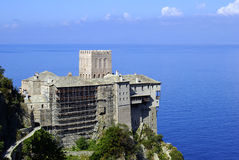 Old castle on Mount Athos Stock Photo