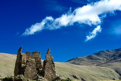 Old castle before a mountain. A thousands years old castle before a mountain Royalty Free Stock Photo