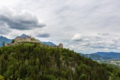 The old castle and mountains royalty free stock images