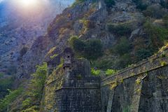 The old castle in the mountains stock photography