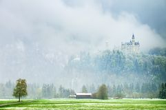 Old castle in mountais, rocks and forest covered  snow and hoarfrost Royalty Free Stock Image