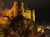 Old castle night scene at Christmas Royalty Free Stock Images