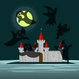 Old castle in the night and six ghosts around him Stock Images