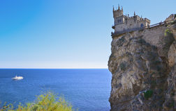 Old castle over the sea. Old castle on rock over the sea royalty free stock images