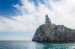 Old castle over the sea. Old castle on rock over the sea stock image